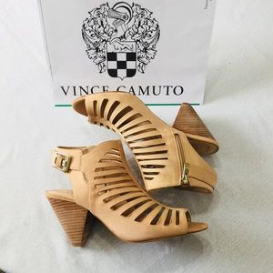 Vince Camuto open toe heels leather size 9